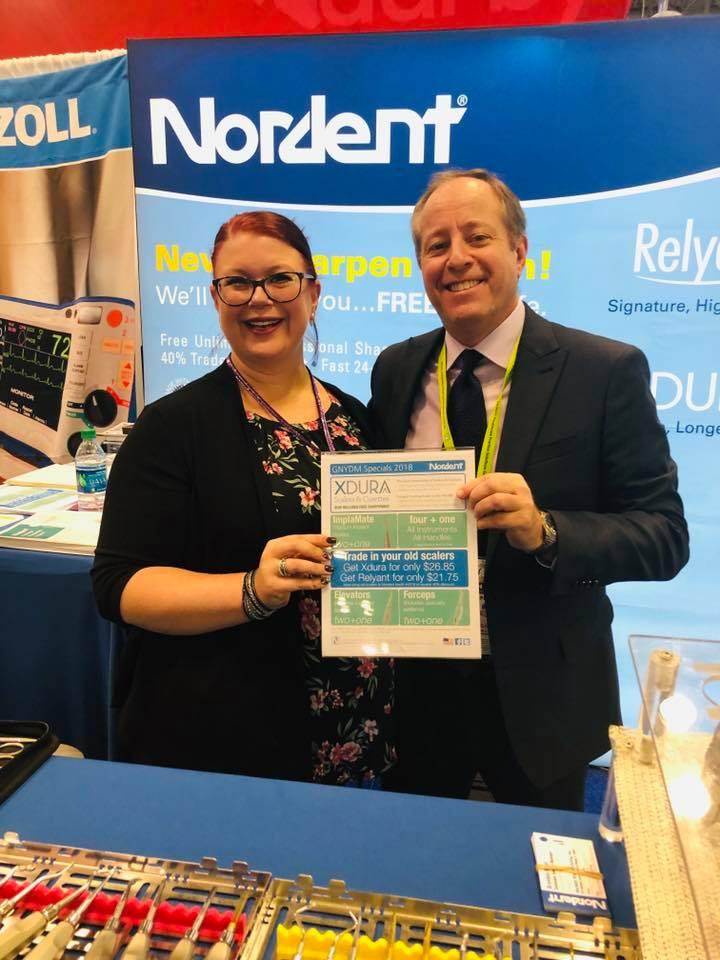 Brandea Kalal, customer service manger (left) and Jim Kaplan, Nordent sales representative (right)